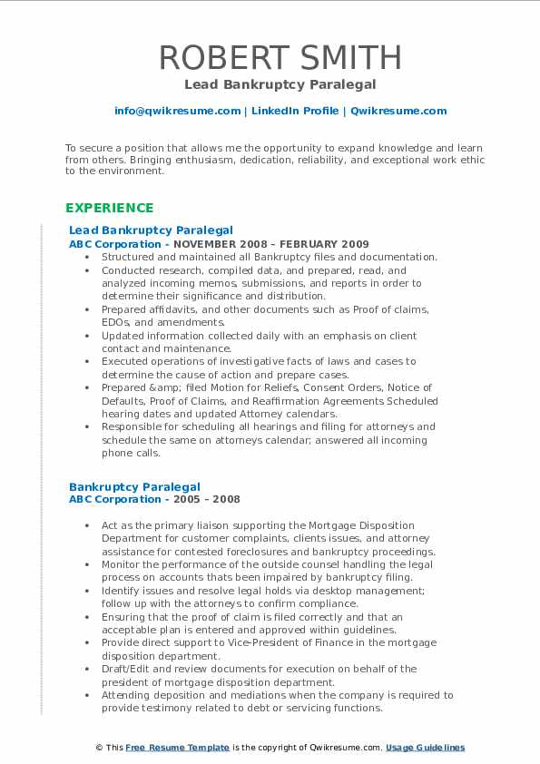 Bankruptcy Paralegal Resume Samples Qwikresume