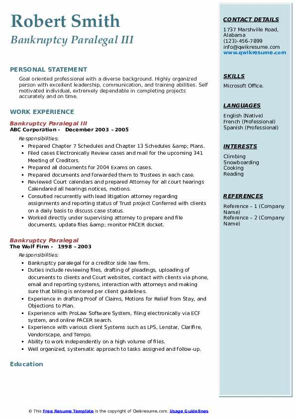 Bankruptcy Paralegal III Resume Example
