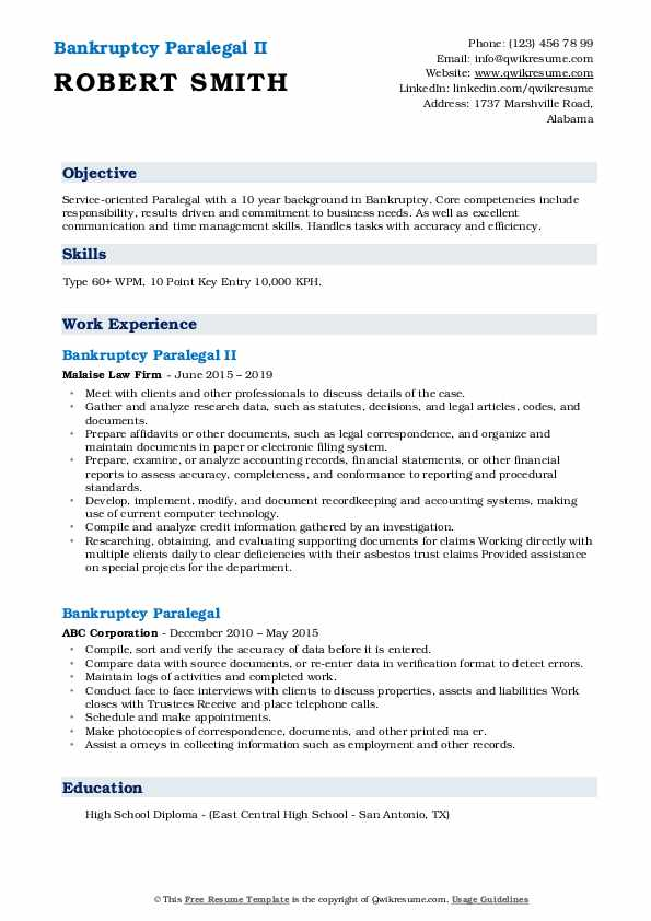 Bankruptcy Paralegal II Resume Template