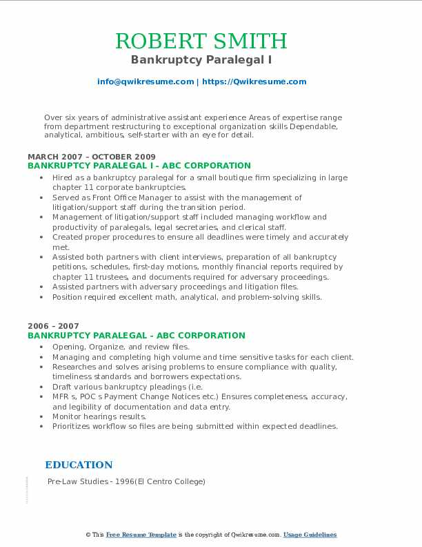Bankruptcy Paralegal I Resume Example