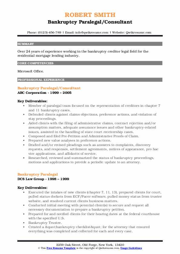 Bankruptcy Paralegal/Consultant Resume Template