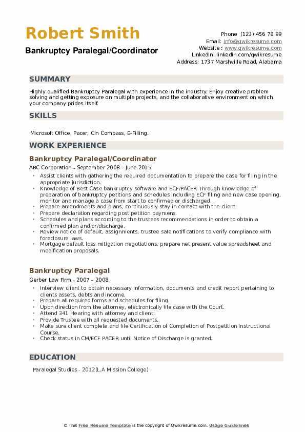 Bankruptcy Paralegal/Coordinator Resume Model