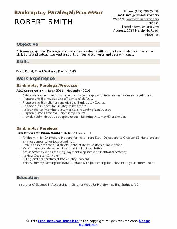Bankruptcy Paralegal/Processor Resume Model