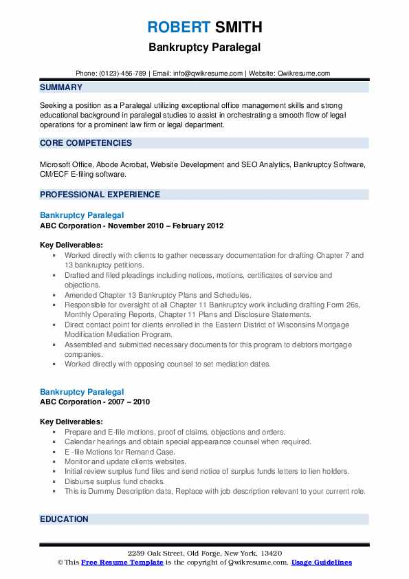 Bankruptcy Paralegal Resume example