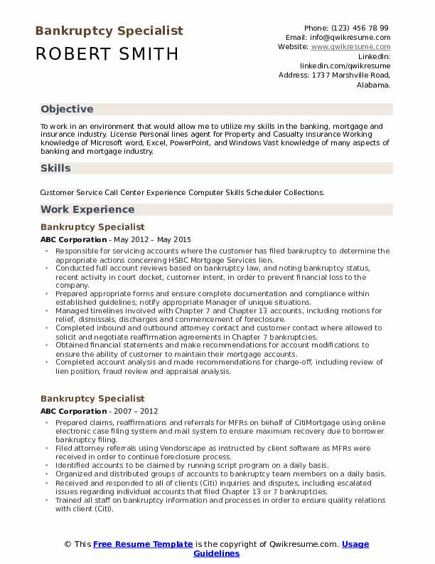 Bankruptcy Specialist Resume Model