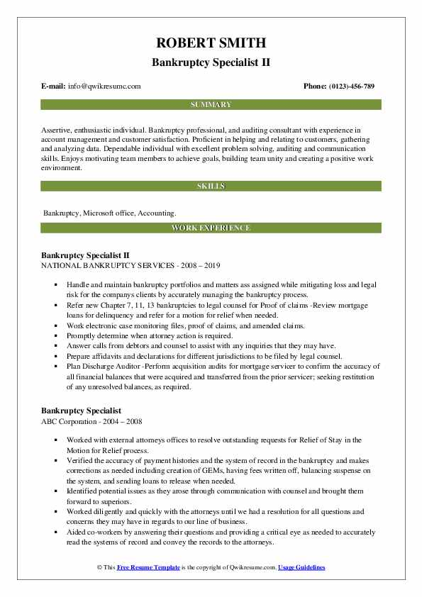 Bankruptcy Specialist II Resume Example