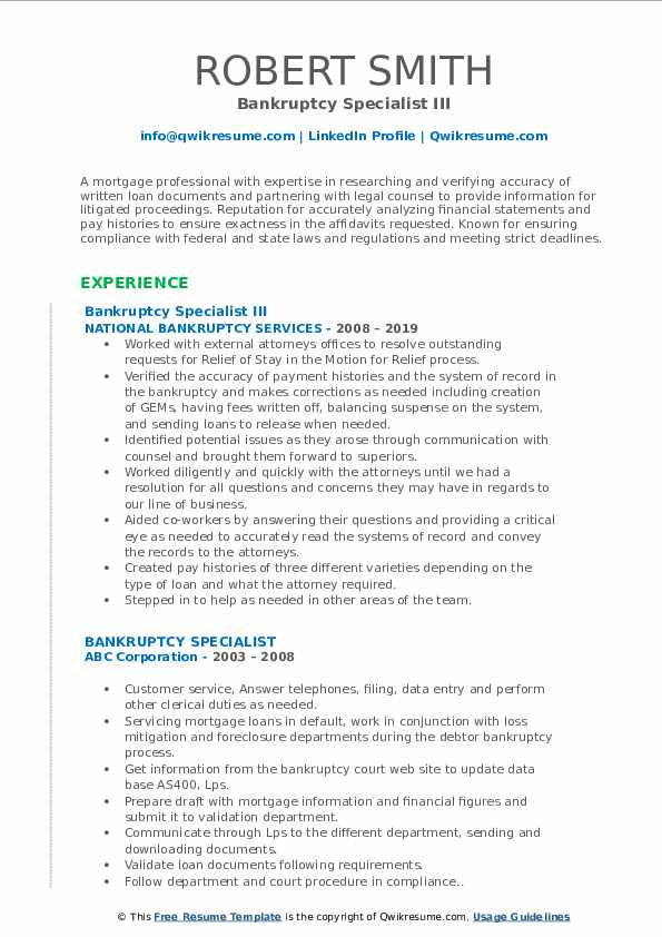 Bankruptcy Specialist III Resume Sample