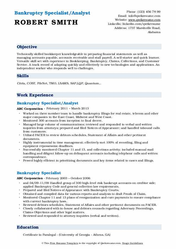 Bankruptcy Specialist/Analyst Resume Sample