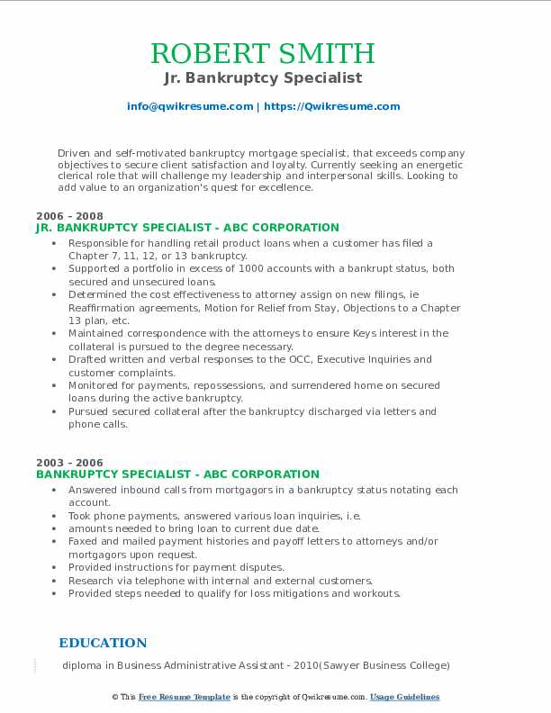 Jr. Bankruptcy Specialist Resume Example