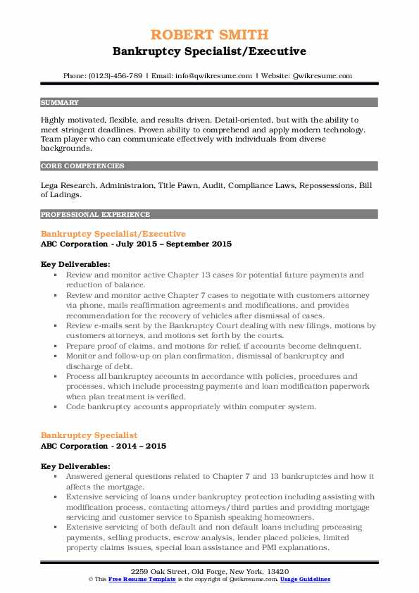 Bankruptcy Specialist/Executive Resume Format