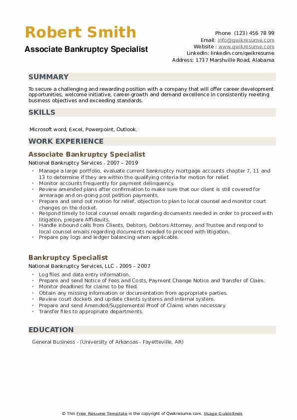 Associate Bankruptcy Specialist Resume Model