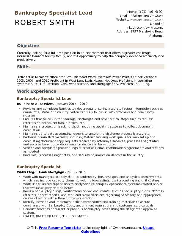 Bankruptcy Specialist Lead Resume Example