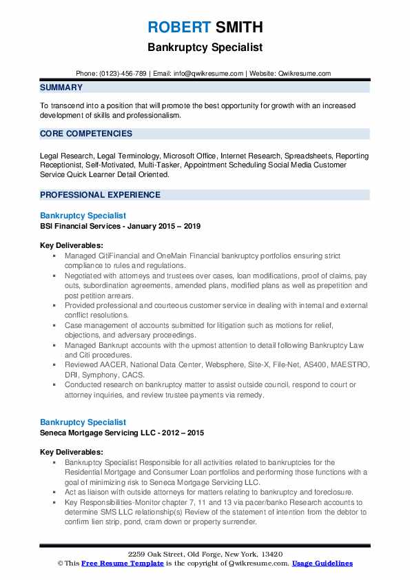 Bankruptcy Specialist Resume example