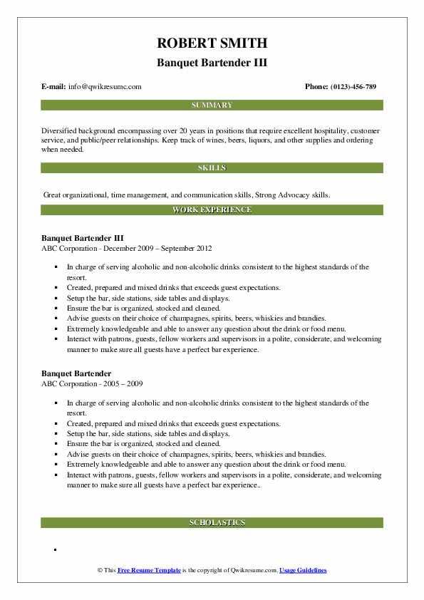 Banquet Bartender III Resume Format