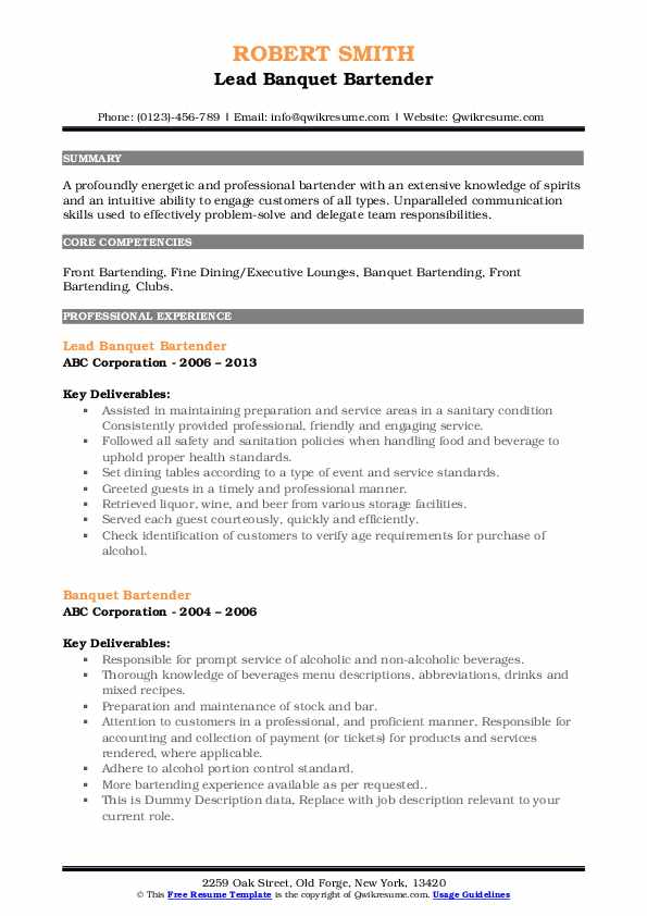 Lead Banquet Bartender Resume Example