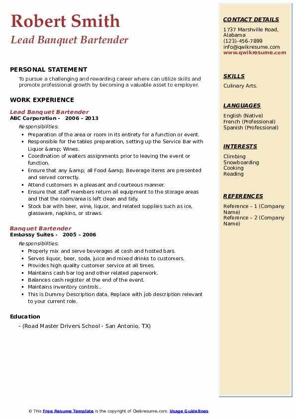 Lead Banquet Bartender Resume Model
