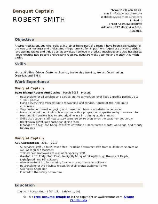Banquet Captain Resume Sample