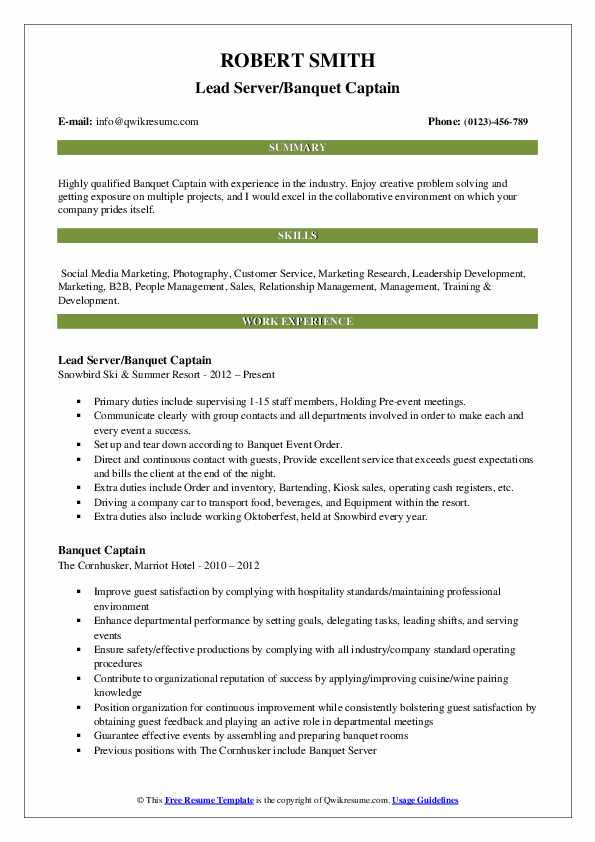 Lead Server/Banquet Captain Resume Model