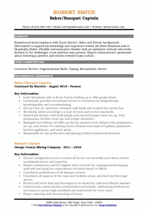 Baker/Banquet Captain Resume Template