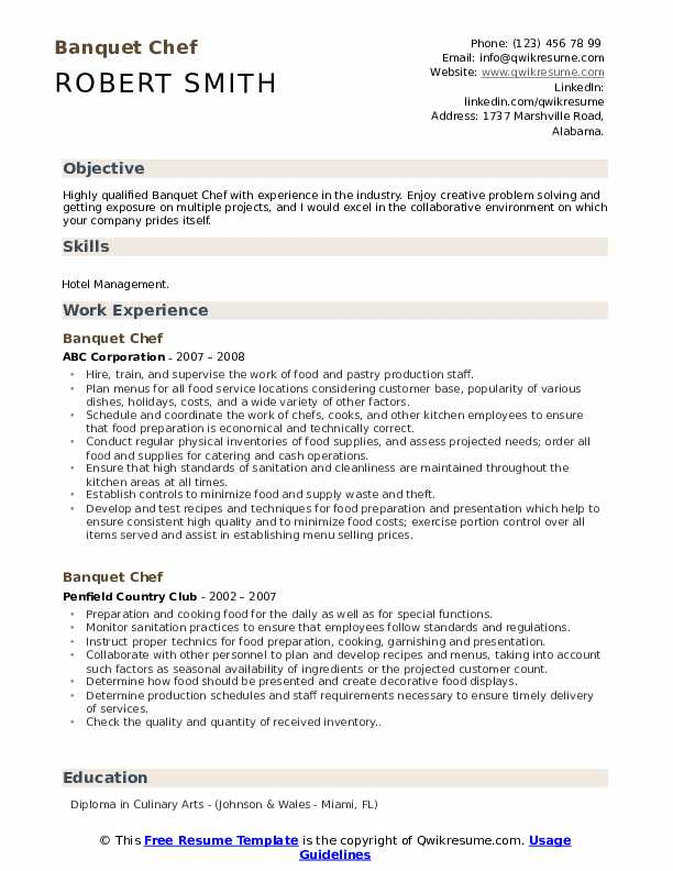 Banquet Chef Resume Samples