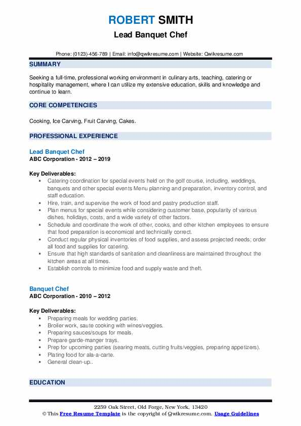 Lead Banquet Chef Resume Example
