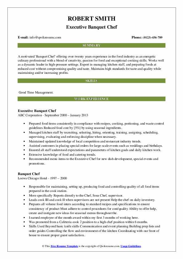 Executive Banquet Chef Resume Sample
