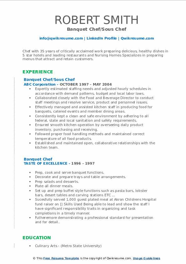 Banquet Chef/Sous Chef Resume Sample