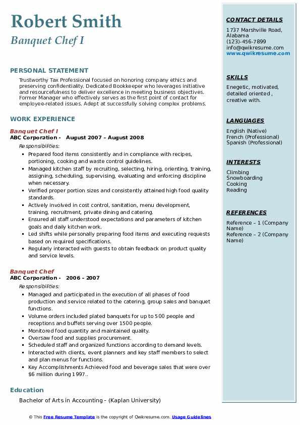 Banquet Chef Resume Samples Qwikresume