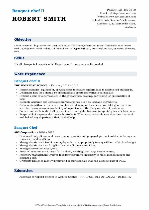 Banquet chef II Resume Example