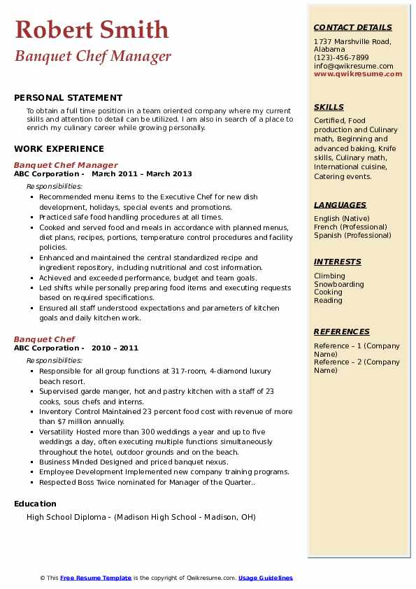 Banquet Chef Manager Resume Sample