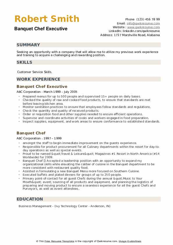 Banquet Chef Executive Resume Sample