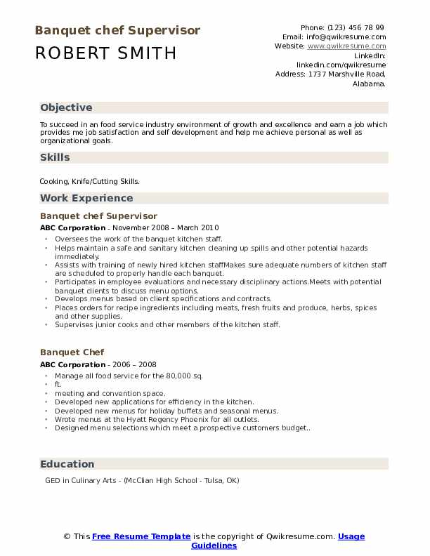 Banquet chef Supervisor Resume Template