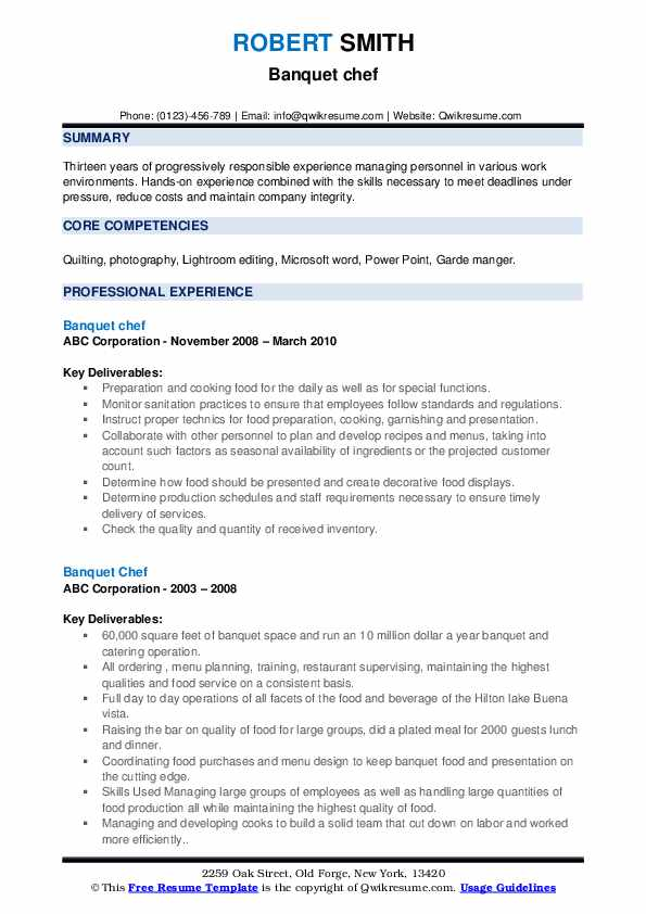Banquet Chef Resume example