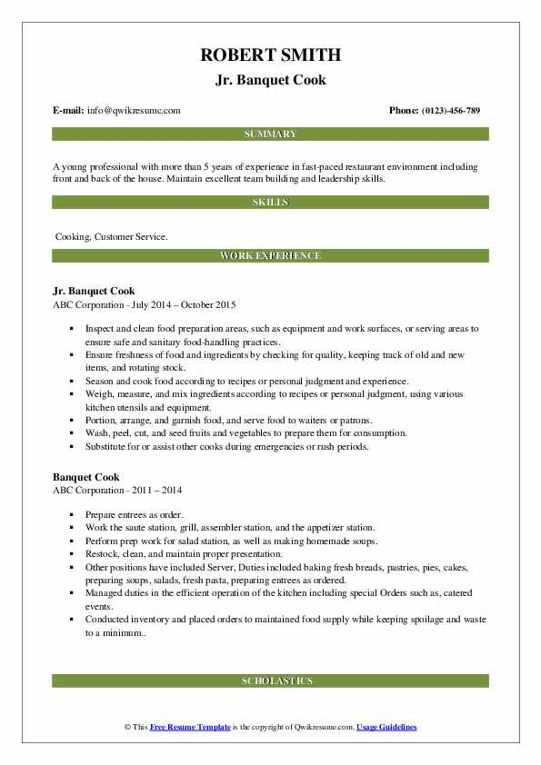 Jr. Banquet Cook Resume Example