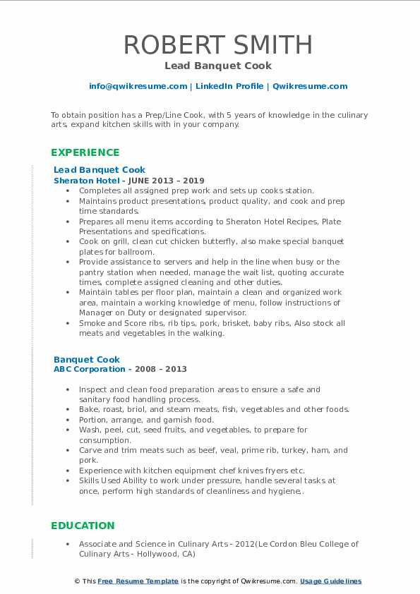 Lead Banquet Cook Resume Template