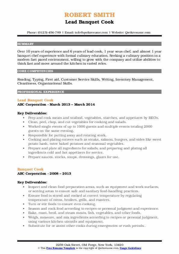 Lead Banquet Cook Resume Sample