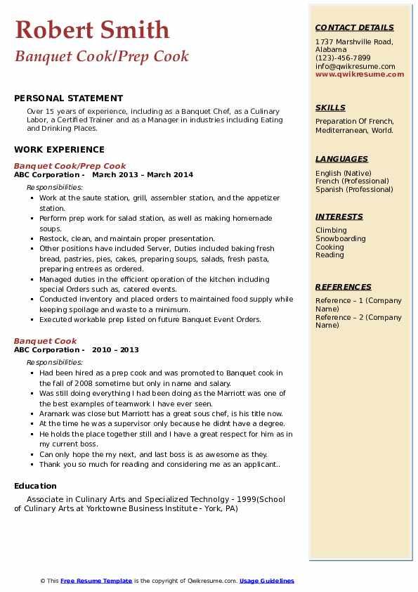 Banquet Cook/Prep Cook Resume Model