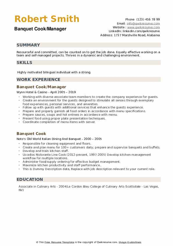 Banquet Cook/Manager Resume Format