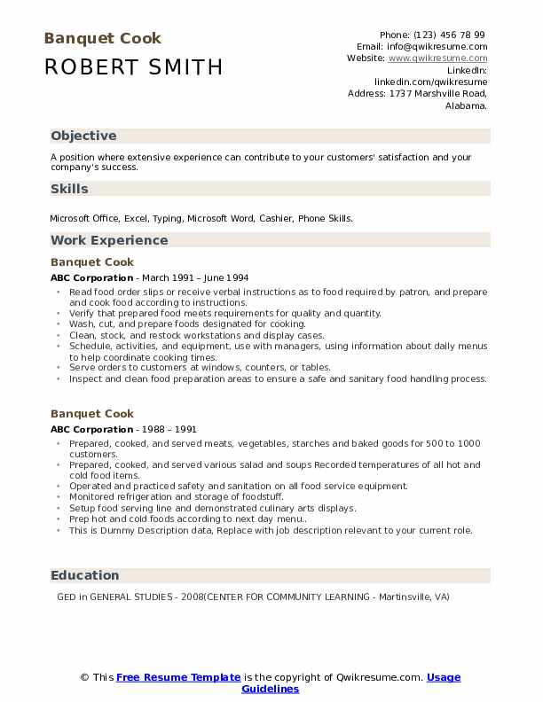 Banquet Cook Resume example