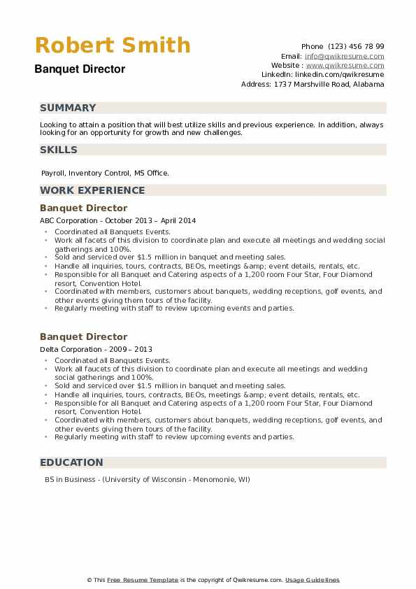 Banquet Director Resume example