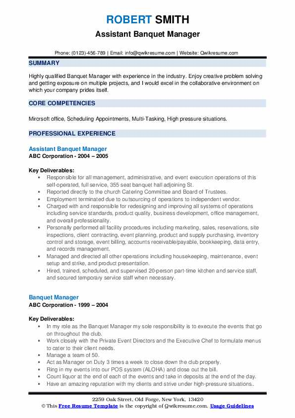 Assistant Banquet Manager Resume Format