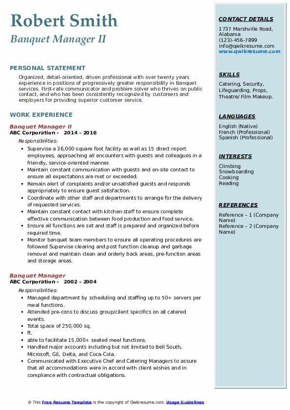 Banquet Manager II Resume Model