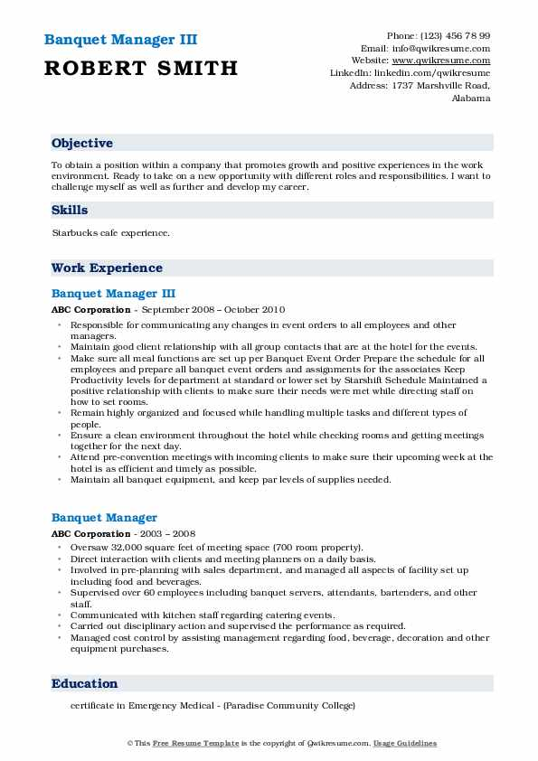 Banquet Manager III Resume Example