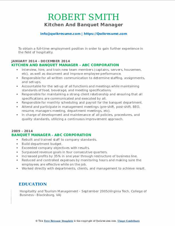 Kitchen And Banquet Manager Resume Format