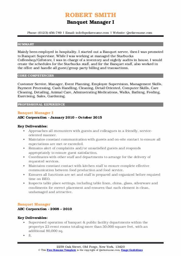 Banquet Manager I Resume Example
