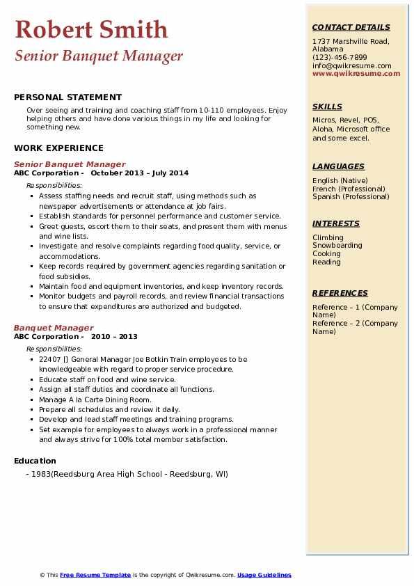 Senior Banquet Manager Resume Format
