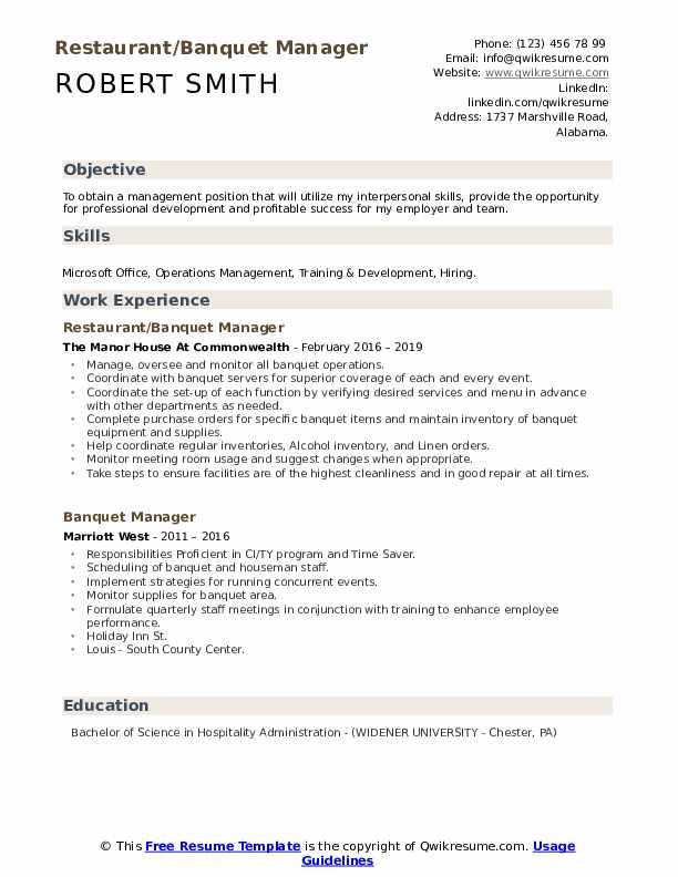 Restaurant/Banquet Manager Resume Model