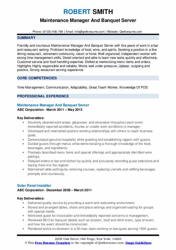 Maintenance Manager And Banquet Server Resume Example