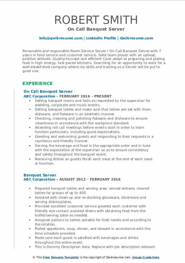 On Call Banquet Server Resume Template