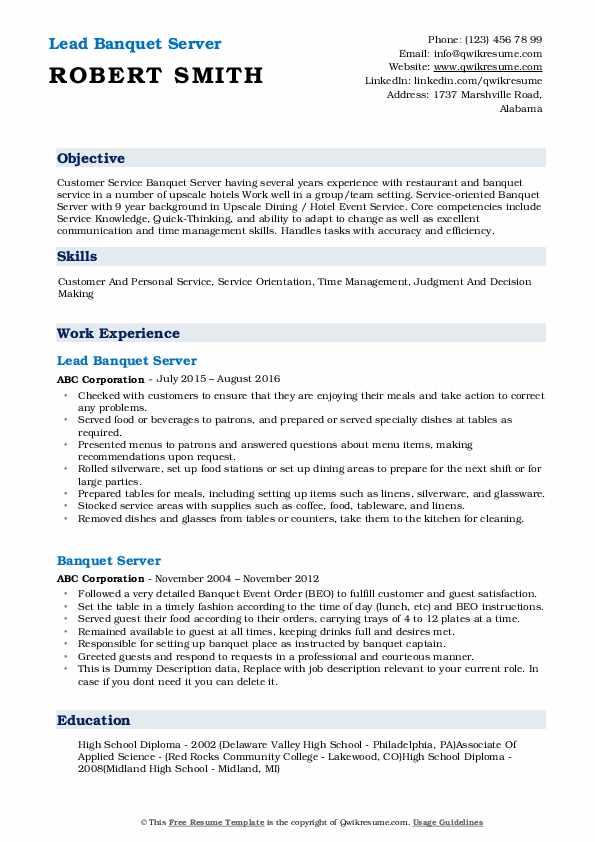 Lead Banquet Server Resume Model